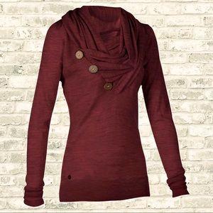 NWOT Raspberry Button Cowl Neck Tunic Sweatshirt